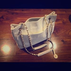 Chanel handbag quilted white leather